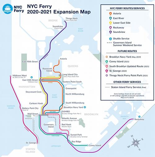 [그림 1] 뉴욕시 페리 노선과 향후 계획