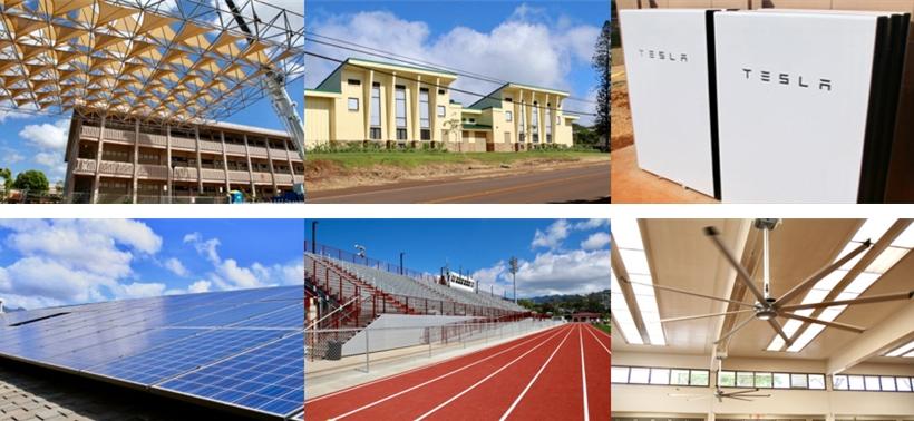 공립학교 노후 지붕 교체사업을 완료한 'King Intermediate's cafeteria roof' 모습