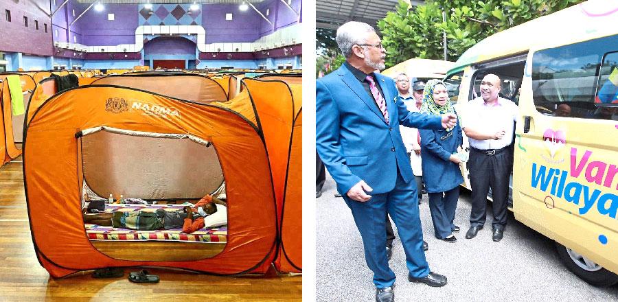[그림 1] 사회적 거리두기를 위해 제공된 텐트, [그림 2] 주민대표위원회에 지원하는 승합차