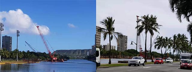 [그림 1] '알라와이 운하 프로젝트'가 한창인 호놀룰루市 일대 전경(통신원 직접 촬영)
