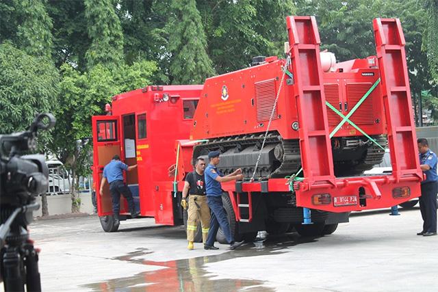 자카르타州에서 도입한 무인 소방로봇 1