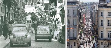 [그림 1] 세인트 까트린 거리의 1975년 풍경(왼쪽)과 현재(2015년)의 풍경 비교