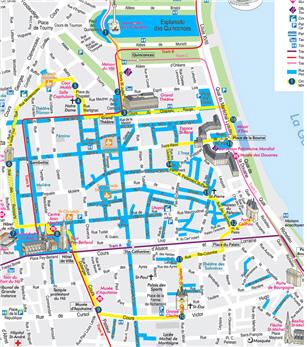 [그림 2] 보르도 메인 스트리트 지도(파란색으로 표시된 길이 모두 보행자거리)